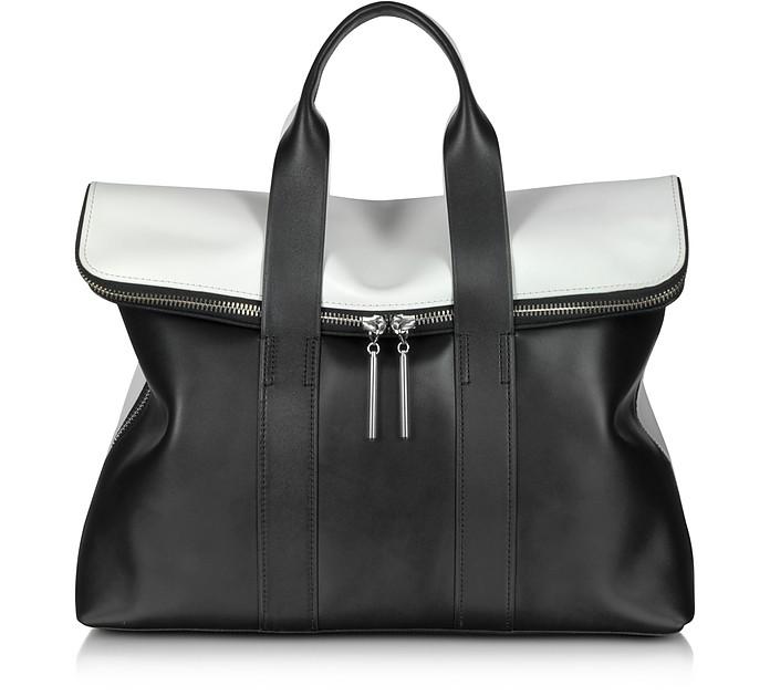 31 Hour Black & White Leather Tote Bag - 3.1 Phillip Lim