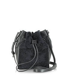 Scout Small Drawstring Shearling and Leather Crossbody Bag