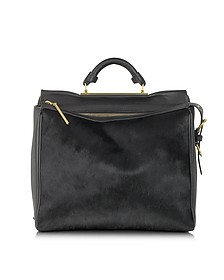 Ryder Satchel - Black Cow Hair