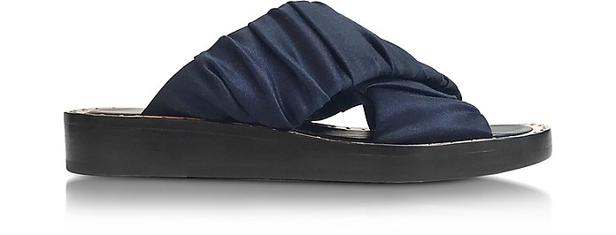 Navy Satin Nagano Criss Cross Slide - 3.1 Phillip Lim