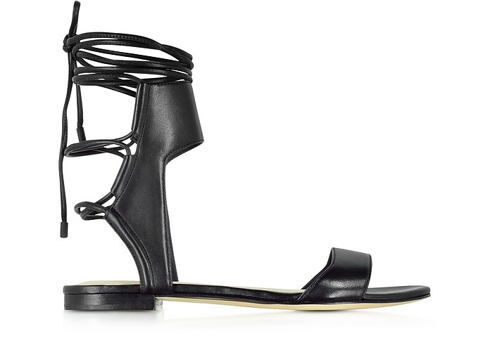 Martini Black Leather Ankle Lace Flat Sandal - 3.1 Phillip Lim