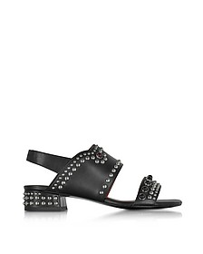 Black Leather Studded Mid-Heel Sandals - 3.1 Phillip Lim