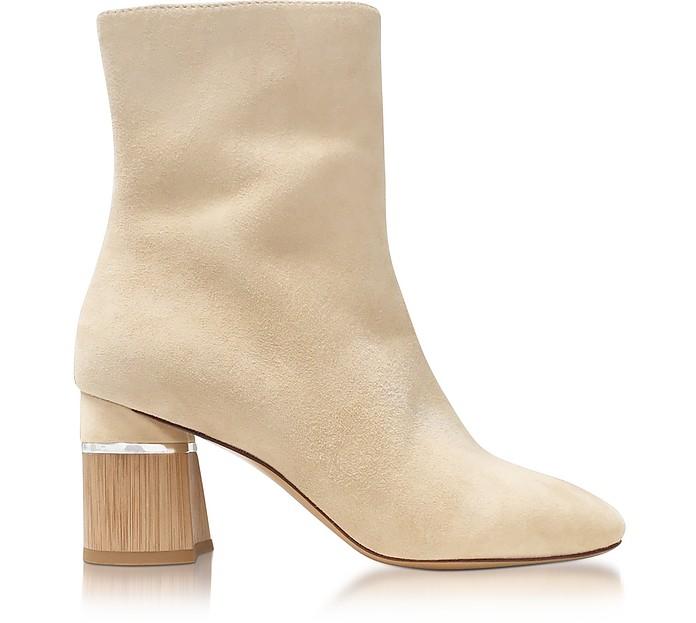 3.1 Phillip Lim Designer Shoes, Drum Ecru Suede Heel Ankle Boots