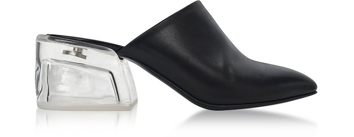 Closed Toe Black Leather Mule W/Plexi Heel