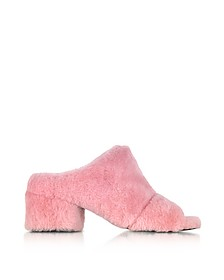 Cube Candy Pink Shearling Open Toe Mid-Heel Mules - 3.1 Phillip Lim
