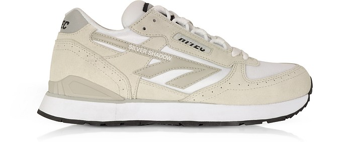 Silver Shadow White Mesh and Cool Grey Suede Unisex Trainers - Hi-Tec