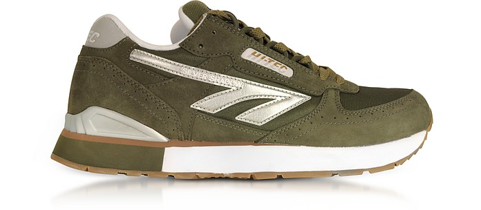 Silver Shadow Olive/Silver/White Mesh and Suede Men's Trainers - Hi-Tec