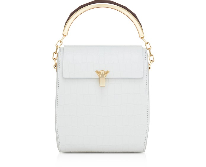 White Croco Po Leather Box Bag - The Volon