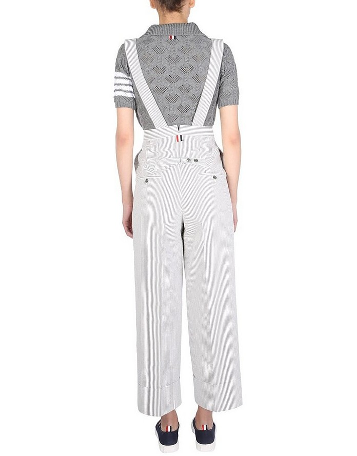 Trousers With Seersucker Pattern And Braces - Thom Browne