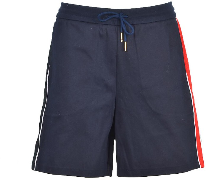 Blue Men's Shorts w/Red and White Bands - Thom Browne
