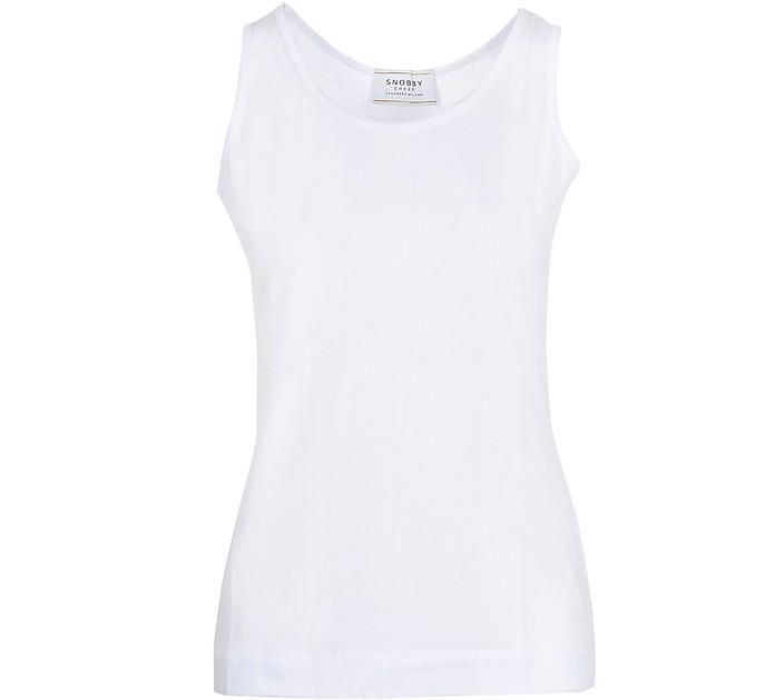 White Cotton Women's Tank Top - SNOBBY SHEEP