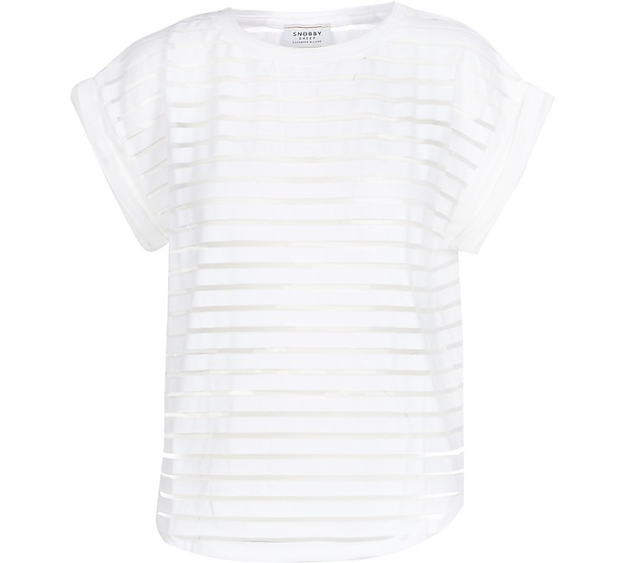 White Striped Cotton Women's T-Shirt - SNOBBY SHEEP