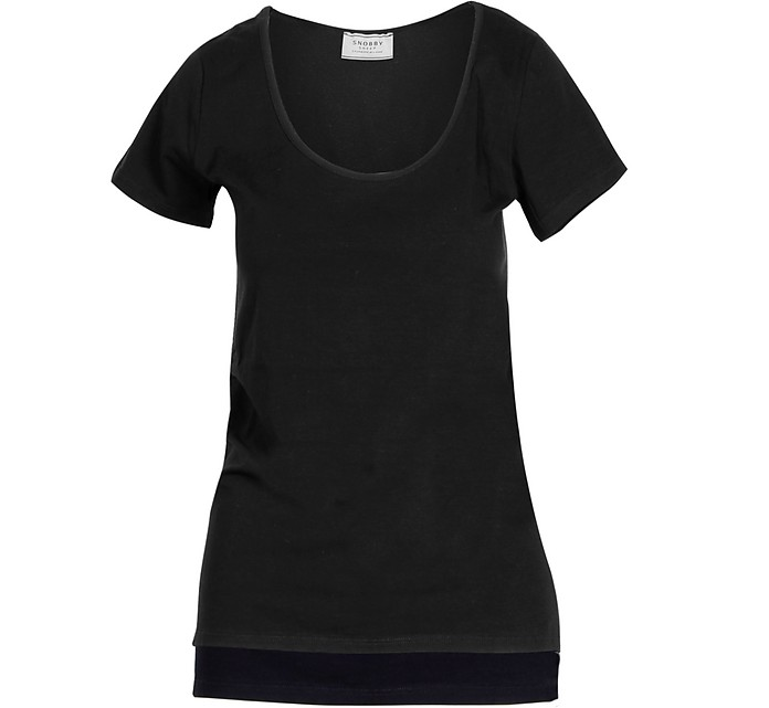 Black Cotton Women's T-Shirt - Snobby Sheep