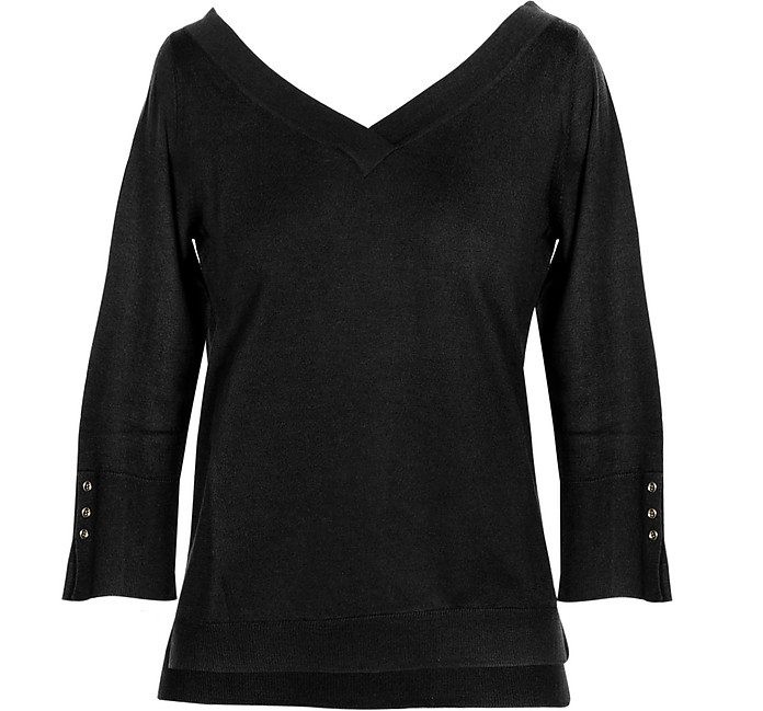 Black Cashmere and Silk Women's Sweater - Snobby Sheep