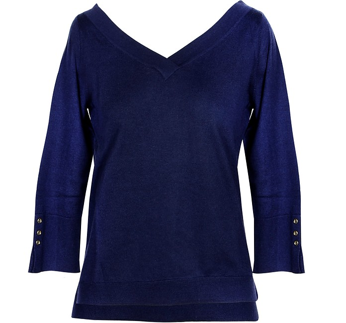 Blue Cashmere and Silk Women's Sweater - SNOBBY SHEEP
