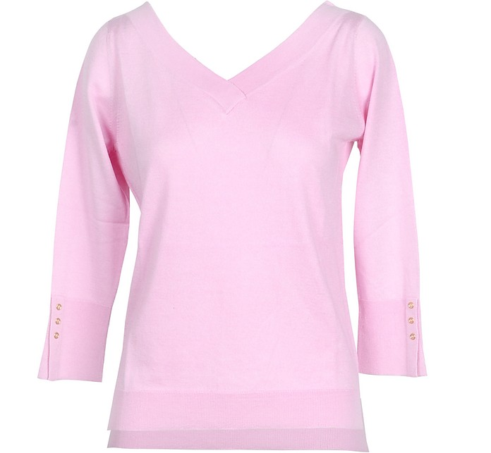 Pink Cashmere and Silk Women's Sweater - Snobby Sheep