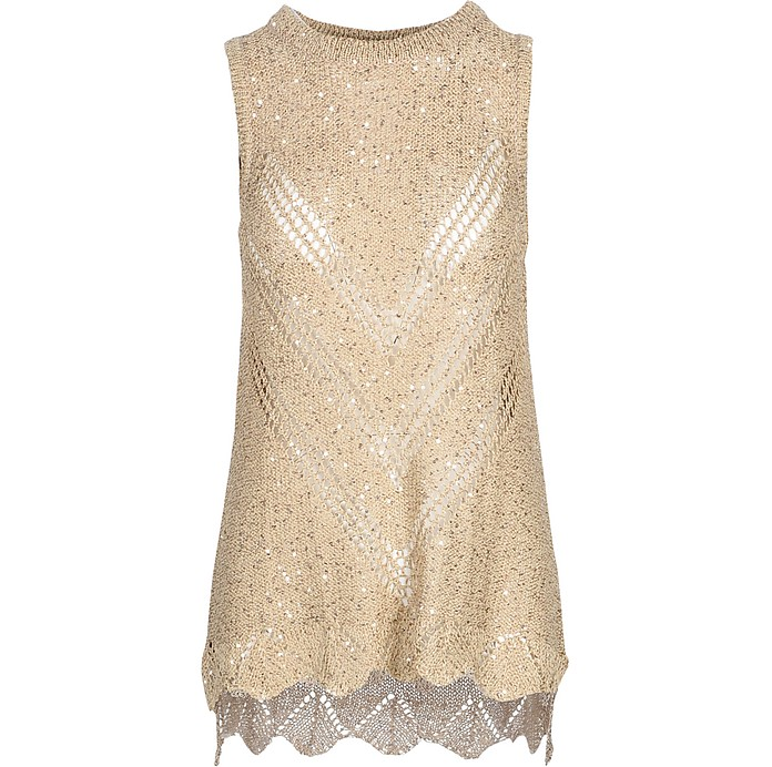 Beige Viscose Women's Sleeveless Sweater - SNOBBY SHEEP