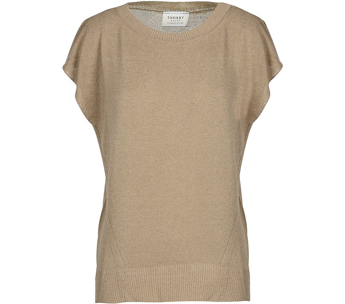 Light Brown Viscose and Linen Women's Sweater - SNOBBY SHEEP