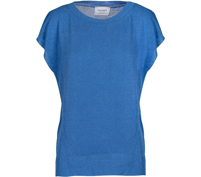 Blue Viscose and Linen Women's Sweater - Snobby Sheep