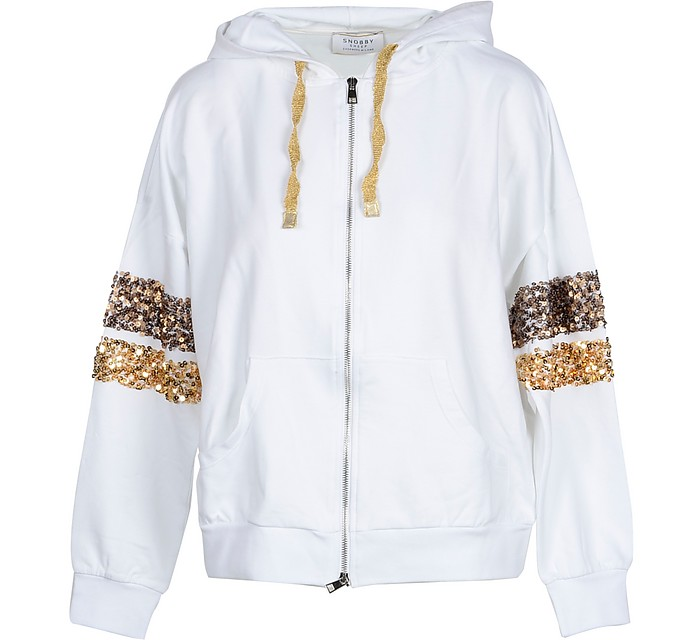 White Cotton Women's Hooded Sweater w/Sequins - Snobby Sheep