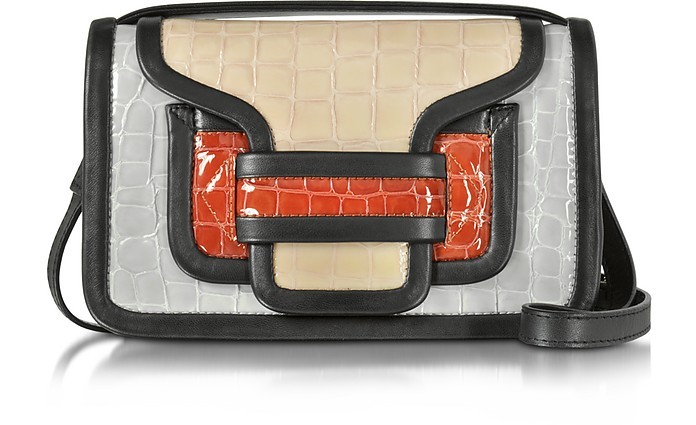 Alpha Multicolor Croco Embossed Patent Leather Crossbody Clutch - Pierre Hardy