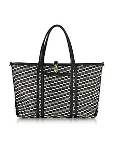 Black Polycube Printed Canvas and Leather Tote Bag - Pierre Hardy
