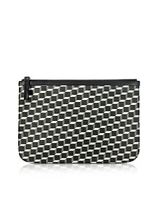 Large Black and White Cube and Stripes Canvas and Leather Pouch - Pierre Hardy