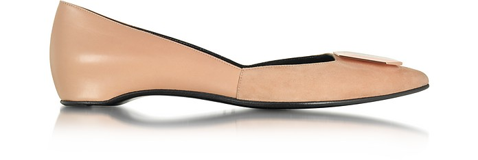 De D'or Nude Suede and Leather Ballet Flat - Pierre Hardy