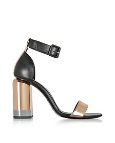 Metallic Pink and Black Leather Heel Sandals - Pierre Hardy
