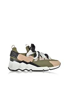 Light Pink Suede and Khaki Neoprene Trek Sneakers - Pierre Hardy