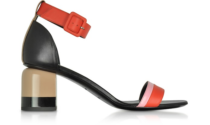 Red and Pink Leather Mid Heel Sandals - Pierre Hardy