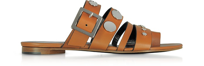 Camel Leather Flat Sandals w/Studs - Pierre Hardy