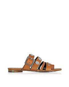 Camel Leather Flat Sandals w/Studs - Pierre Hardy