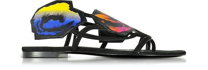 Multicolor Leather and Suede Poppy Flat Sandals - Pierre Hardy