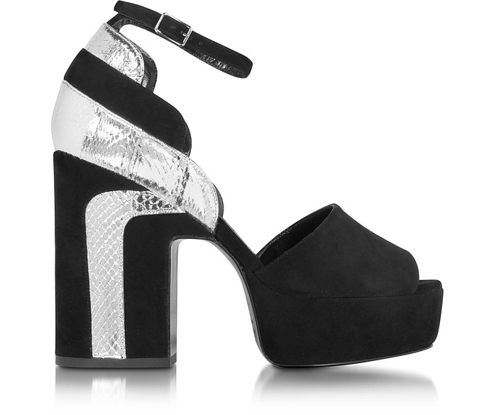 Roxy Black Suede and Silver Ayers Platform Sandal - Pierre Hardy