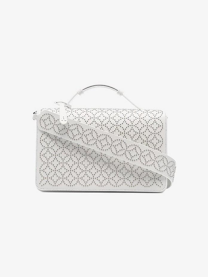White Franca medium studded leather cross body bag - Alaïa