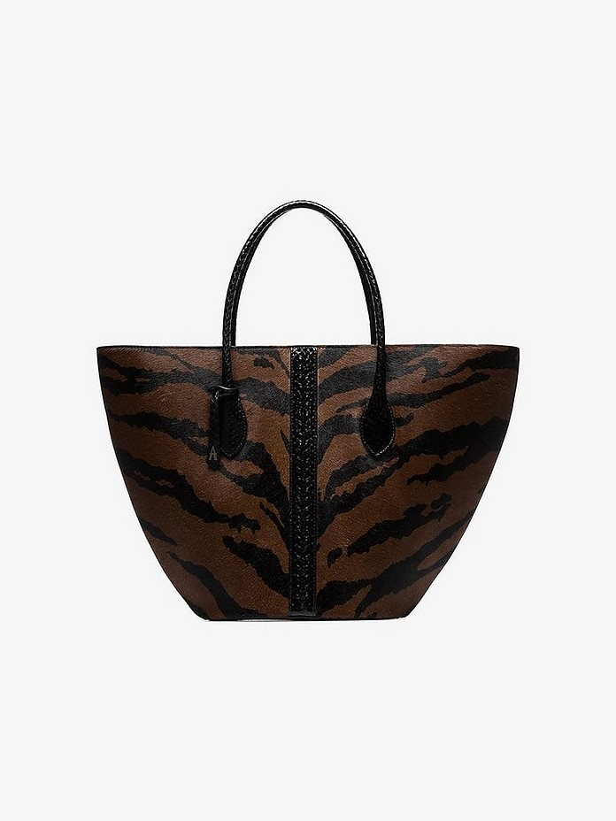 Brown medium Latifa zebra leather tote - Alaïa
