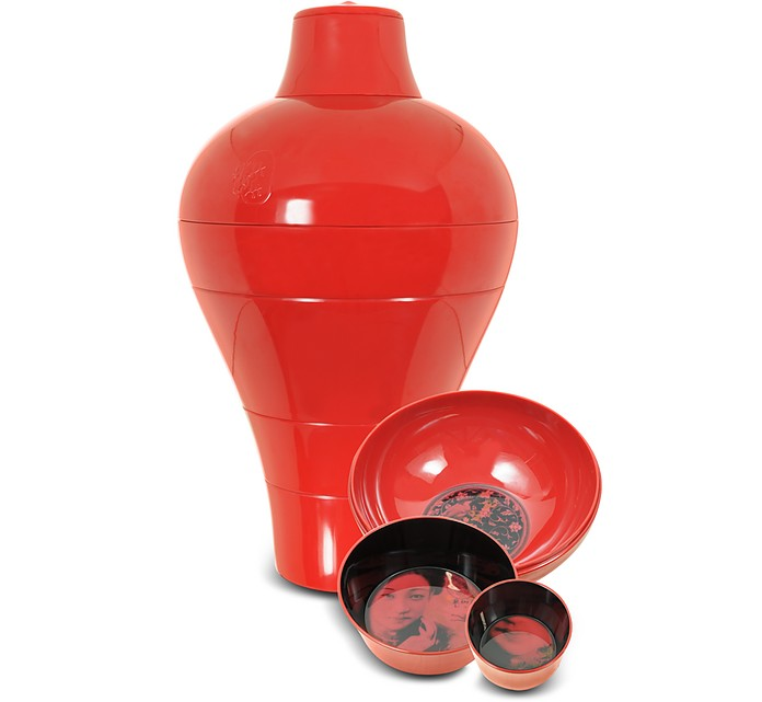 Ibride Red Ming Vase / Stackable Bowls at FORZIERI UK
