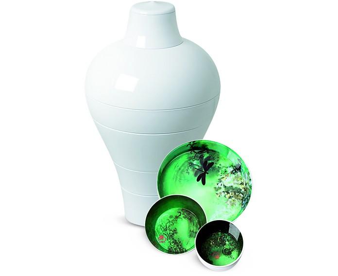 White Ming Vase / Stackable Bowls - Ibride