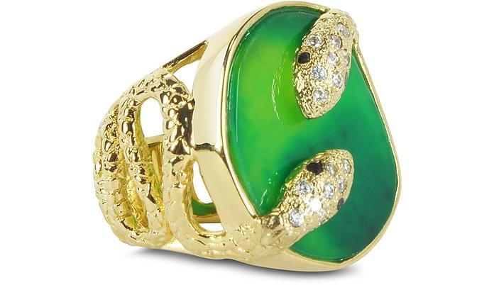 Green Serpent Twisted Druzy Ring - Isharya