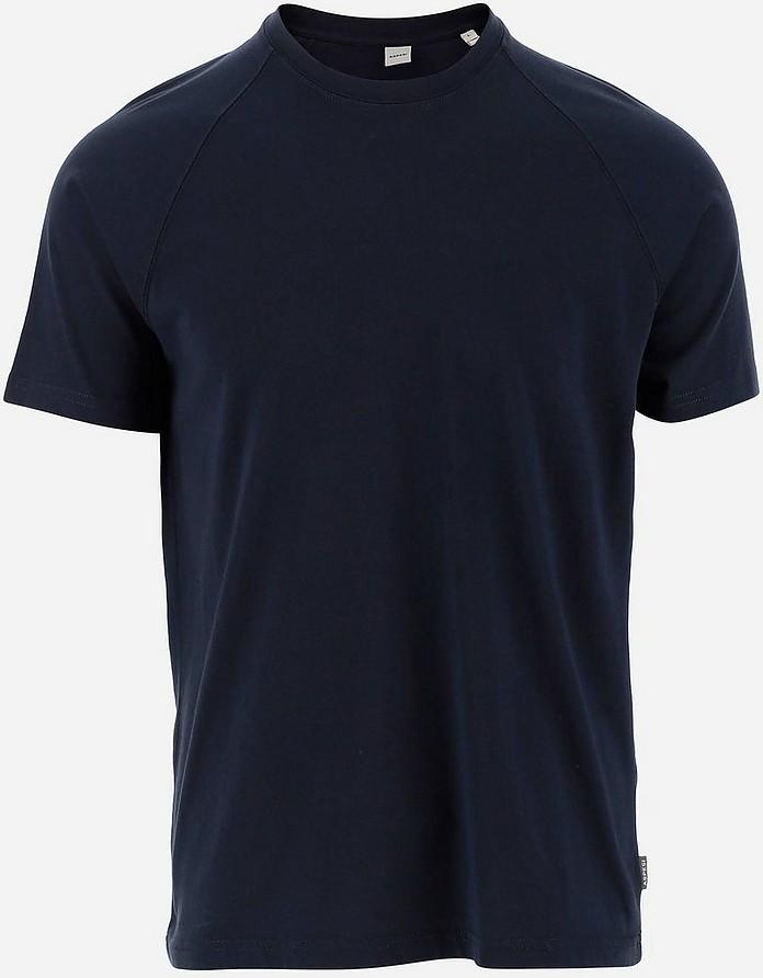 Navy Blue Cotton Men's Shortsleeves T-shirt - Aspesi
