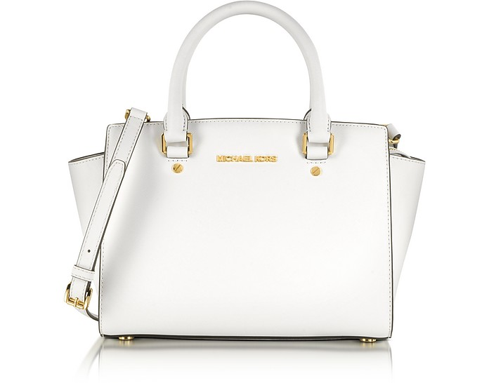 Optic White Medium Selma Top-Zip Satchel  - Michael Kors