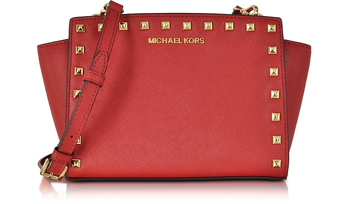 56bb9d2788f5 Michael Kors Selma Studded Red Saffiano Leather Medium Messenger at ...