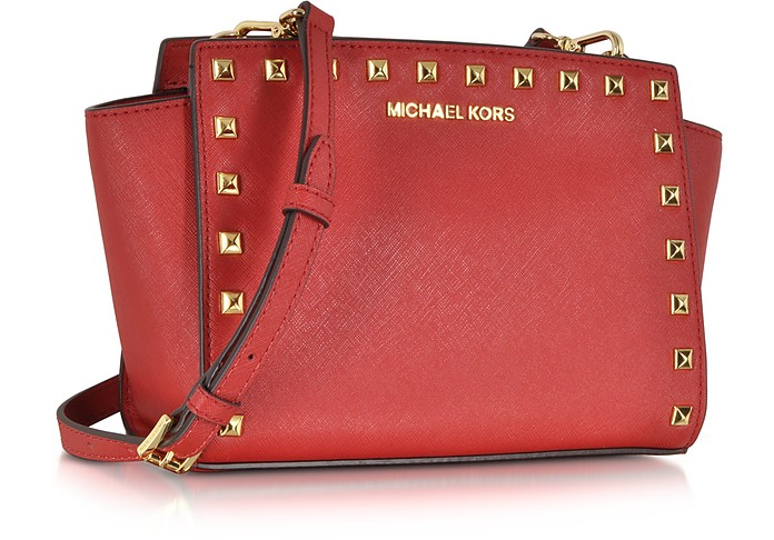 bdffd966f38a Michael Kors Selma Studded Red Saffiano Leather Medium Messenger at ...