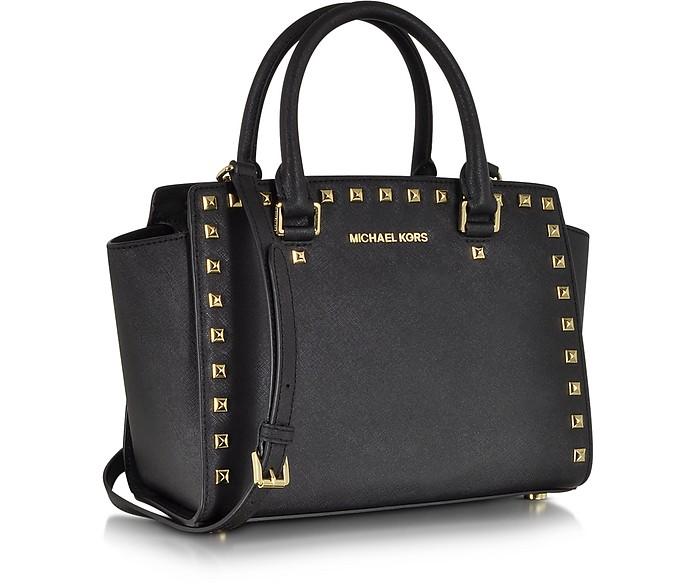 a55eda54c0 ... inexpensive selma medium studded black saffiano leather satchel michael  kors. 348.00 actual transaction amount 59b94