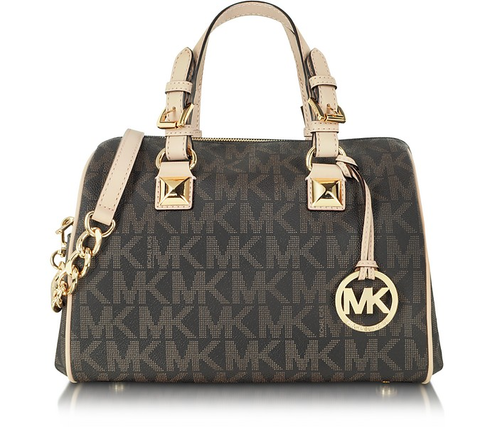Grayson Brown Signature Medium Chain Satchel - Michael Kors