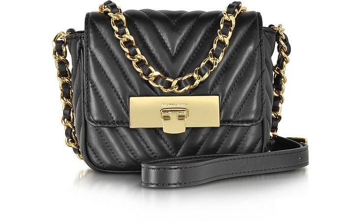 4675fc8cdd86 Michael Kors Susannah Lock Black Quilted Leather Small Messenger at ...