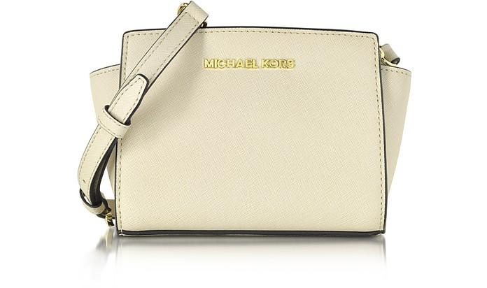 Ecru Saffiano Leather Selma Mini Messenger Bag - Michael Kors