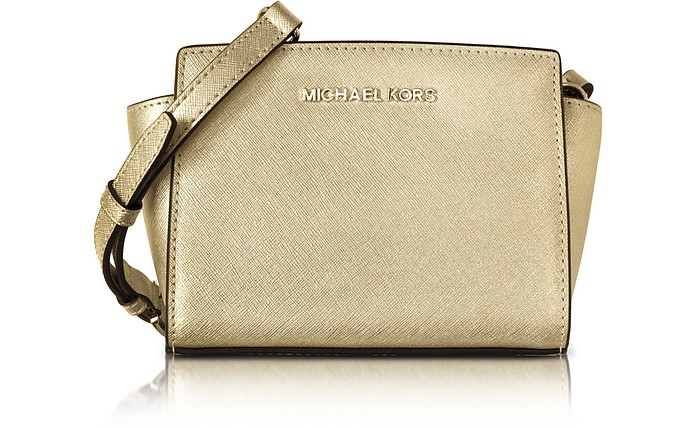 4542c7c726ca ... italy pale gold metallic saffiano leather selma mini messenger bag  michael kors c9cc1 04dde