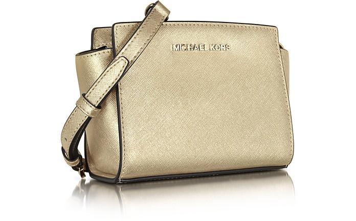 88de8d053533f Pale Gold Metallic Saffiano Leather Selma Mini Messenger Bag - Michael Kors.  Sold Out